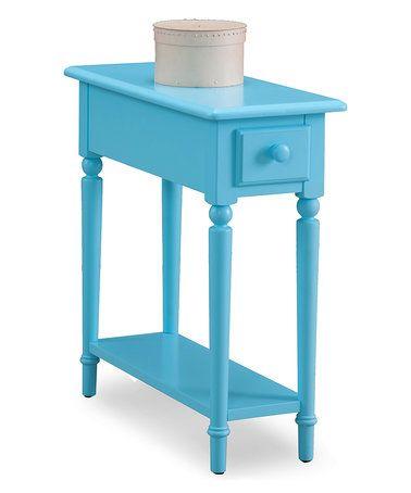 leick furniture regatta blue coastal narrow side table