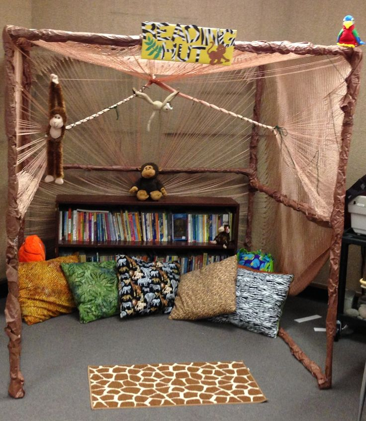 My Reading Hut!! Jungle themed classroom! #3rdgrade #Teacher #lovemyjob