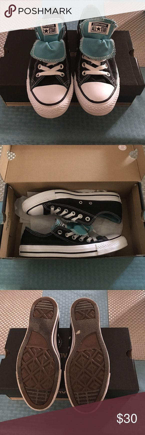 Converse double tongue shoes GREAT CONDITION! Black/white converse with Aqua/white double tongue. Only worn out once, other then that they've been in their box. In the first picture you can see the stitching is unraveling on right shoe and there is a small smudge on left. Converse Shoes Sneakers