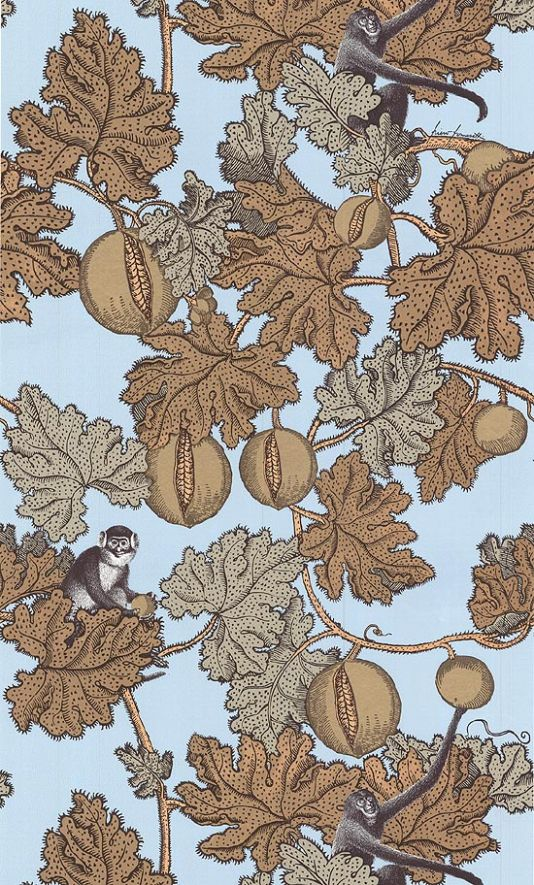 Frutto Proibito Wallpaper A Fornasetti wallpaper depicting monkeys hiding in a pomegranate tree, in golds outlined in black on a light blue ...