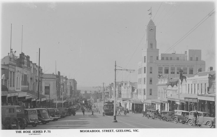 Moorabool Street Geelong from when they still had trams, around 1938