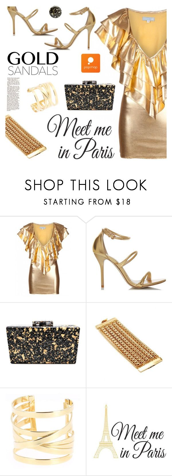 """""""Gold Ruffles"""" by ansev ❤ liked on Polyvore featuring JULIA CLANCEY, Fiebiger, Philippe Audibert, Brewster Home Fashions and Nails Inc."""