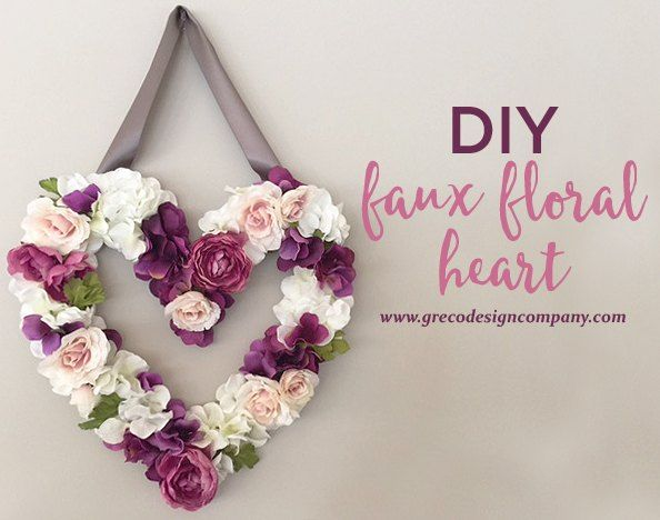[d]This DIY faux floral heart makes a great Valentine's or spring decoration but it can be left up all year too. It's easy to make and it looks like it came fro…