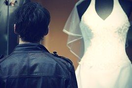 남자, 젊은, 결혼, 드레스, 웨딩 드레스, 사랑, 감정, 가죽 자 켓