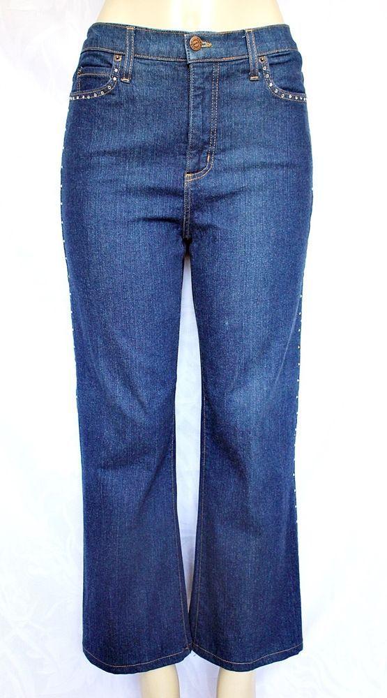 EUC NYDJ Straight Leg Blue Jeans 10 Tummy Tuck Rhinestones on Sides High Waist #NotYourDaughtersJeans #AnklecropStraightLeg