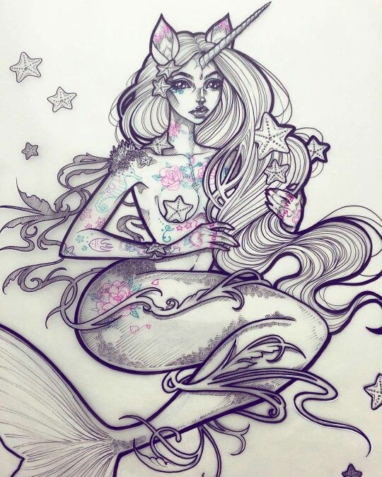 I would love to get this mermaid as a tattoo! By Gwen D'arcy @graphicartery on insta