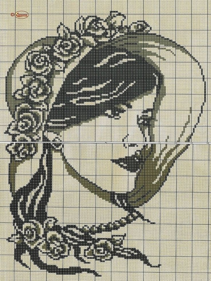 point de croix  visage de femme romantique chapeau à fleurs - cross-stitch woman's face romantic hat with flowers