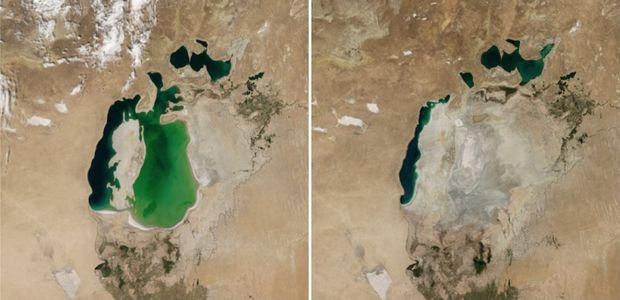 Aralské jazero v auguste 2000 vs. v auguste 2014. (Foto: NASA)