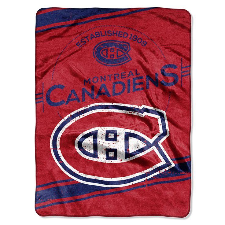 Montreal Canadiens Royal Plush Raschel Blanket (Stamp Series) (60x80) $39.95 at mysportsdecor.com  #montrealcanadiens #canadiens #canandiensblanket