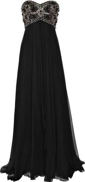 MARCHESA Beaded Silk-chiffon Gown (would be awesome in ivory for a wedding dress w/ some cap sleeves or a removable bolero jackette)
