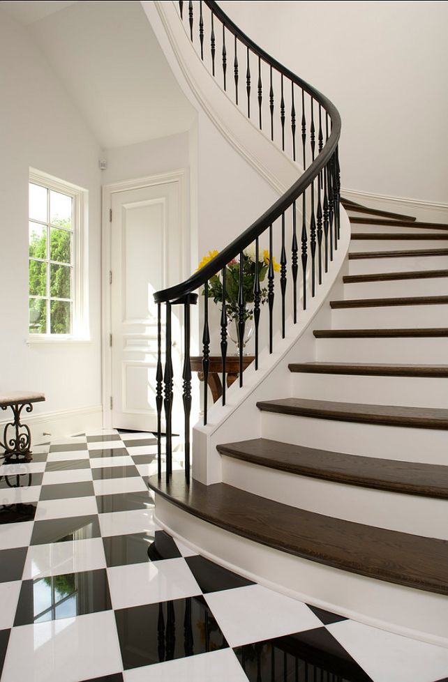 Eclectic Staircase Cork Beautiful black and white foyer