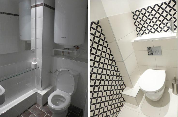Avant Après de l'aménagement d'intérieur d'une salle de bain en Ile de France