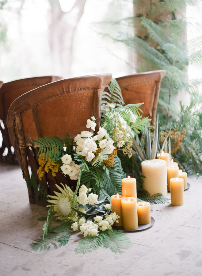 Candles + lush greenery: http://www.stylemepretty.com/2016/05/18/a-modern-masculine-take-on-a-traditional-mexican-wedding/ | Photography: Jose Villa - http://josevilla.com/