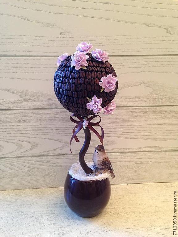 кофе топиарий из кофе необычный топиарий коричневый розовые розы подарок для…