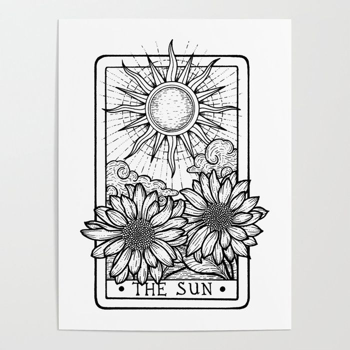 The Sun Tarot Card Art Poster By Strat Lacy Art 18 X 24 Tarot Cards Art Tarot Tattoo The Sun Tarot Card