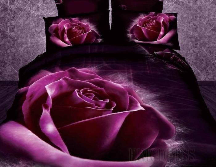 3d Comforters Part - 19: New Arrival Stunning Purple Roses Print 4 Piece Bedding Sets Bed U0026 Bath Inn