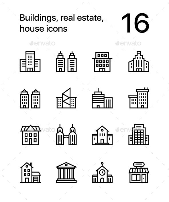 Building, Real Estate, House Icons for Web and Mobile Design Pack 1
