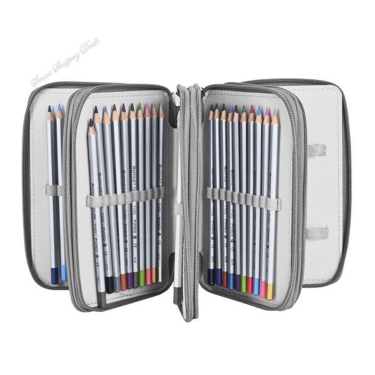 Colored Pencil Case Holder Pen Bag With Compartment Storage Organizer Pencils  #PencilCaseHolder