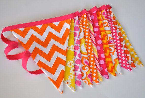 Pink Orange  Yellow girls fabric banner bunting by GiddyGumdrops, $30.00