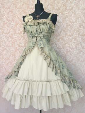 Green and White Lolita Dress