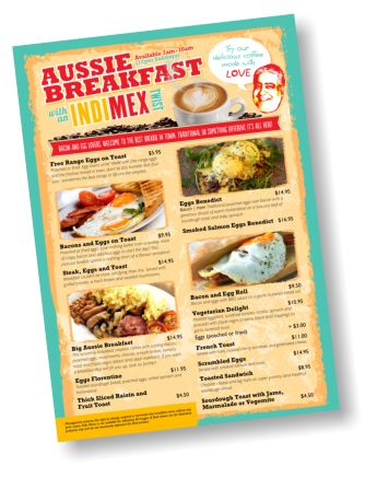 Aussie Breakfast Menu 8am to 11am 7 days.