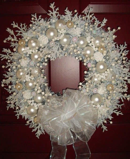 snow white shabby chic Christmas wreath