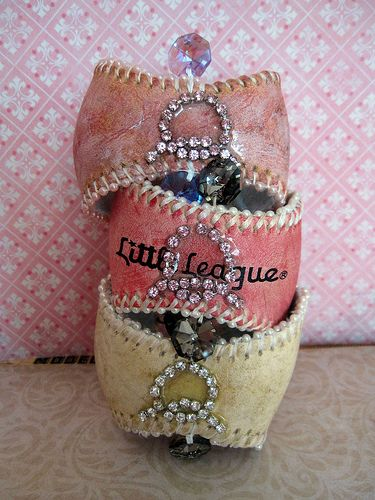 Blinged out baseball bracelet cuffs, love!
