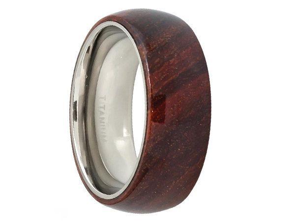 Domed style mens titaniumring with 100% authentic hawaiian koa wood inlay 8mm.