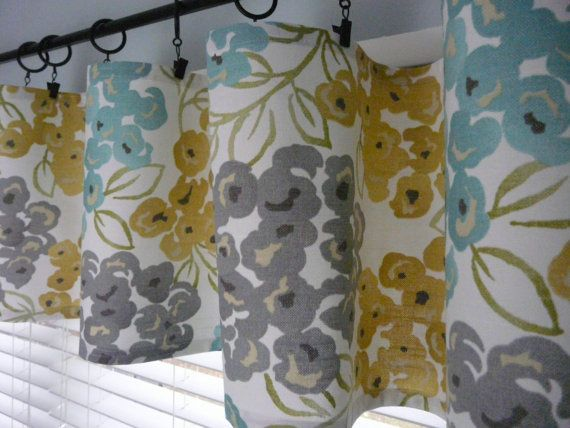Turquoise Grey Flat Curtain Yellow Gold by PaisleyLadyDesigns