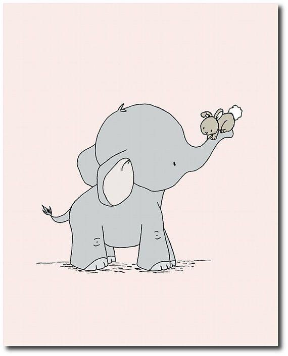 Olifant kwekerij kunst olifant en Bunny kinderkamer kunst
