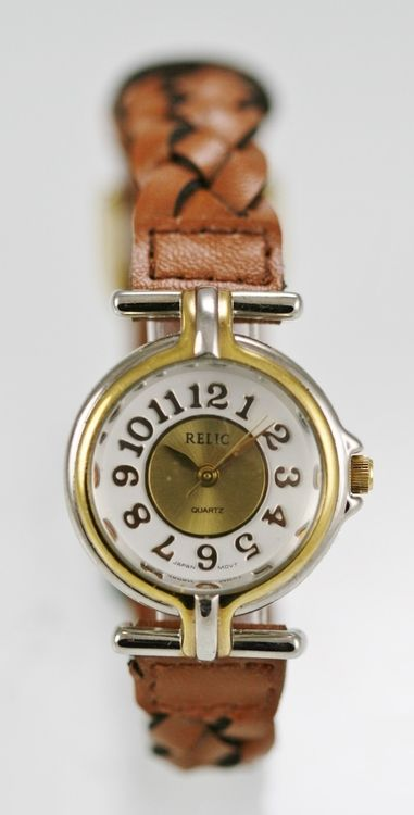 Relic Watch Womens Stainless Silver Gold Brown Leather Water Resist White Quartz