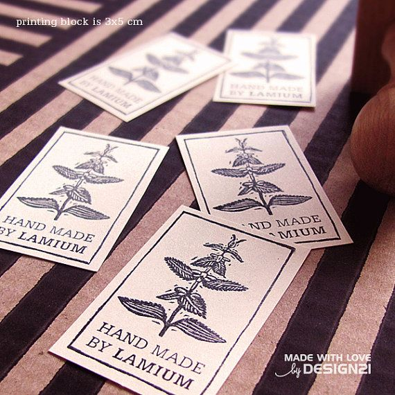 Nettle: personalised rubber stamp 3x5 cm by lida21 on Etsy
