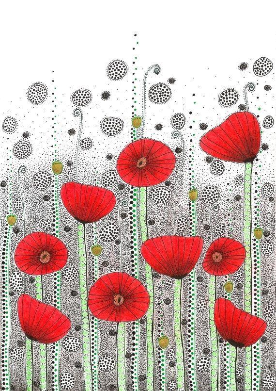 Original dibujo  campo de amapolas  8.5x12 por EnchantedCrayons, $15.00
