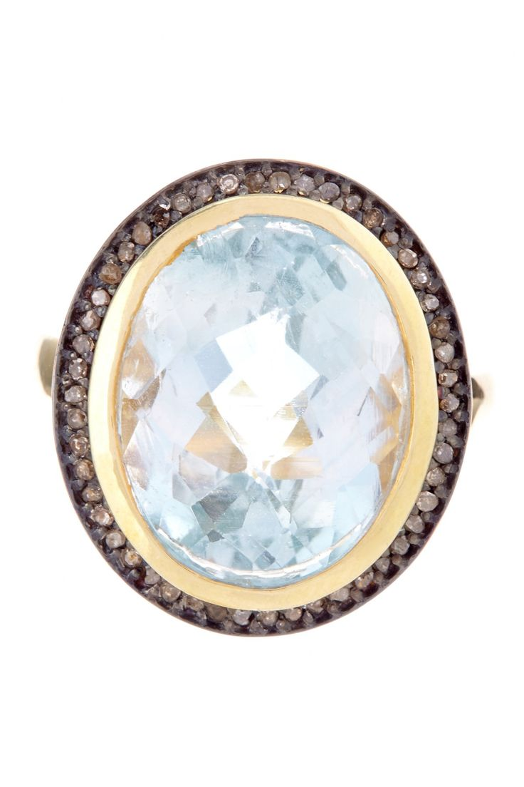 While the more unusual cuts of diamonds have been gathering momentum - Blue Topaz Champagne Diamond Ring 3