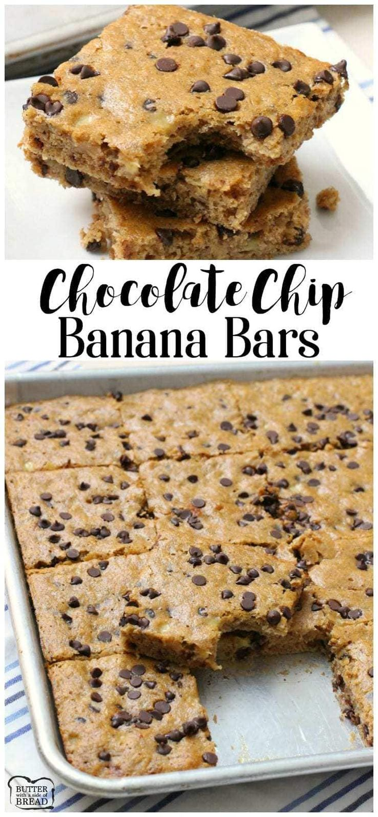 Chocolate Chip Banana Bars are delicious, filling, and perfect for any time! Packed with 5 ripe bananas & whole wheat flour they're sweet & satisfying.