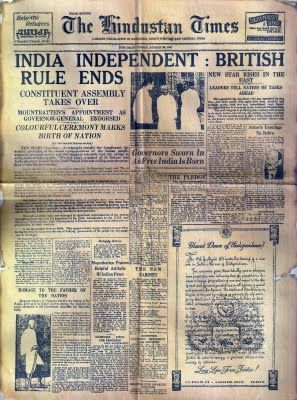 The Hindustan Times Newspaper 15 August 1947 - Happy Independence Day 2013