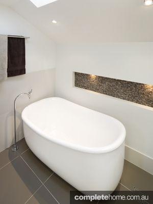 Bathroom Design Ideas   A Free Standing Bath With Neutral Coloured Floor  Tiles