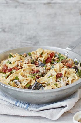 This satisfyingly creamy pasta recipe is packed with smoky bacon, mushrooms and a rich Gorgonzola sauce. | Tesco