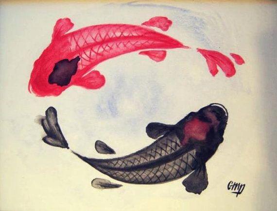 Koi fish zen watercolor print koi watercolor print koi for Salle de bain yin yang