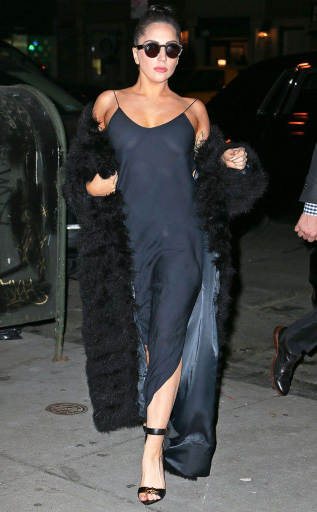 Divalicious from Lady Gaga's One-of-a-Kind Street Style Daring to wear a revealing blue dress, the pop star makes a statement as she heads to the studio.