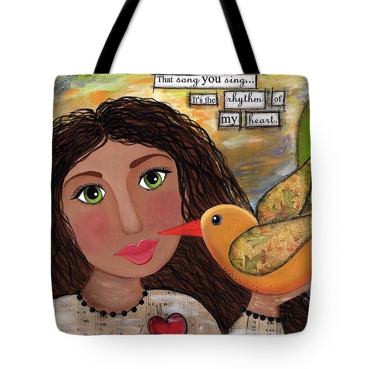 Inspirational Art Tote Bag featuring the mixed media That Song You Sing by Clover Moon Designs Peggy Sowers-Heckman