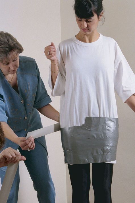 This quick and easy method of form making uses ordinary duct tape as both the body-casting material and the final form.