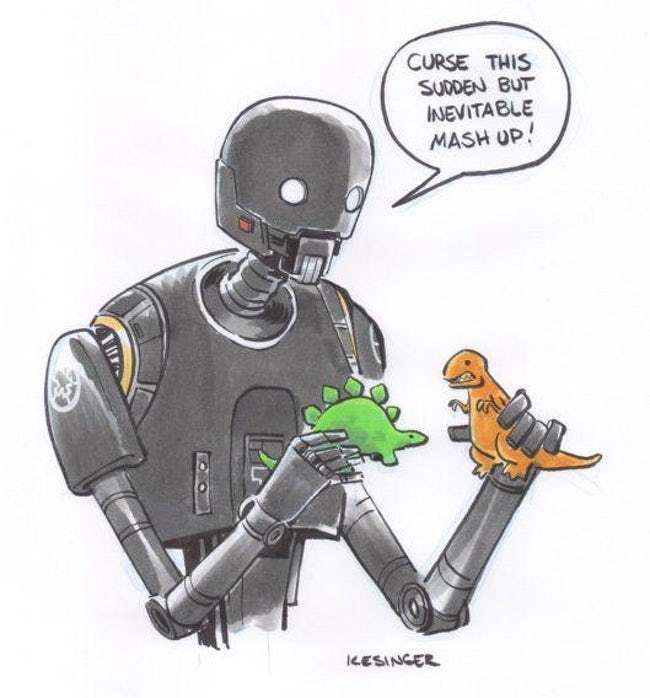 An Adorable K2SO is listed (or ranked) 15 on the list This Guy Draws Star Wars Characters In Calvin And Hobbes Style, And It's Genuinely Heart-Warming
