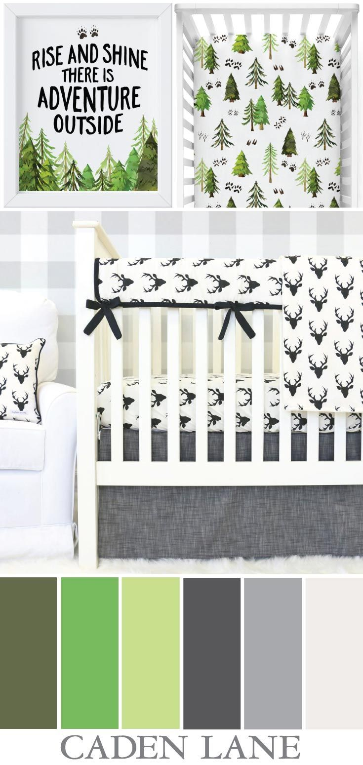 An adorable baby boy woodland nursery in ivory, grays, and green - I ♥️ this!