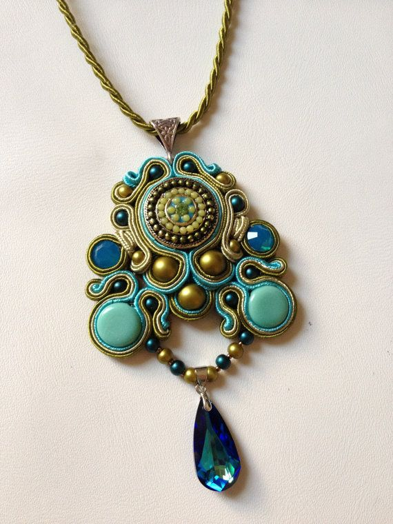 Soutache Jewelry. Soutache necklace. Soutache Jewelry with Swarovski Elements. Olive-turquoise colors. OOAK.