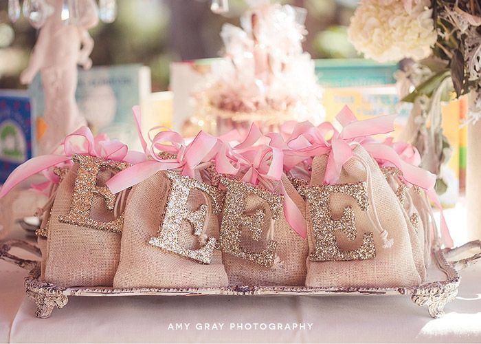 "Gorge! Burlap Bags with Glitter Letter ""Fearfully and Wonderfully Made [from scratch]"" Baby Shower"