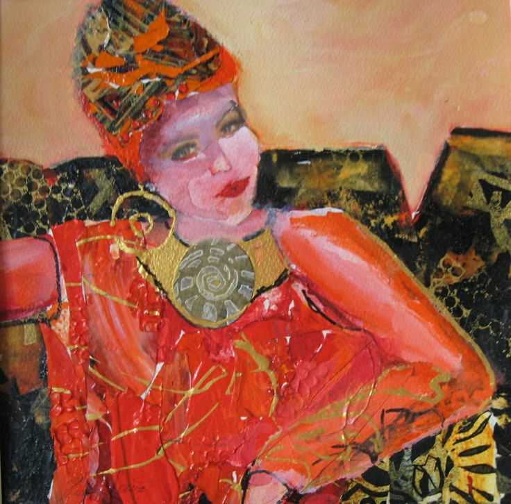 The Lady in Red Acrylic and Collage Image 11 X  11 Matted  18 X 18   $ 250.00