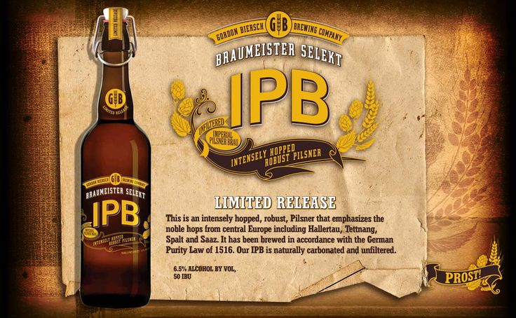 "Gordon Biersch's IPB - That's ""Intensely Hopped Pilsner"". And so it is. Prost!"