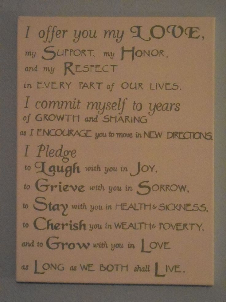 Wedding Vows painted on a canvas Aww