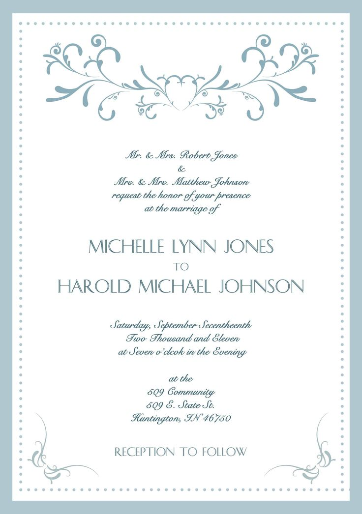 Wedding Reception Wording Examples